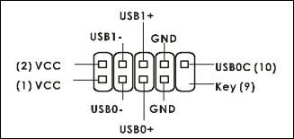 Conforme mostrado no manual, disposição dos pinos USB