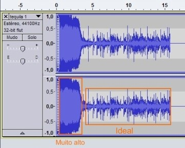 Configure o volume de gravação