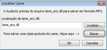 Para salvar em MP3, você precisa de uma DLL