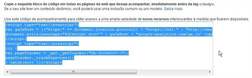 Copie esse código para colocar no corpo do seu site.