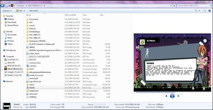 Visualizando um vídeo diretamente do Windows Explorer.