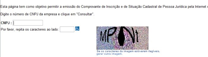 Captcha do site da Receita Federal