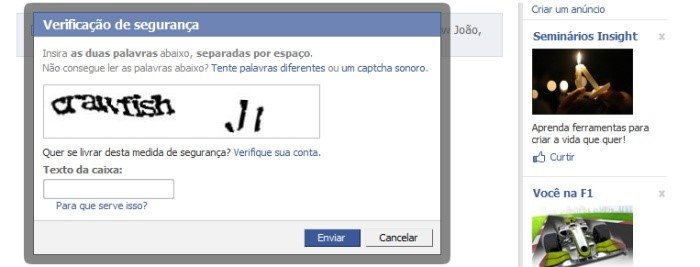 Captcha do site Facebook