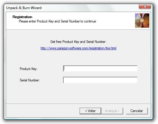 Preencha com a chave e número de série recebidos por email.