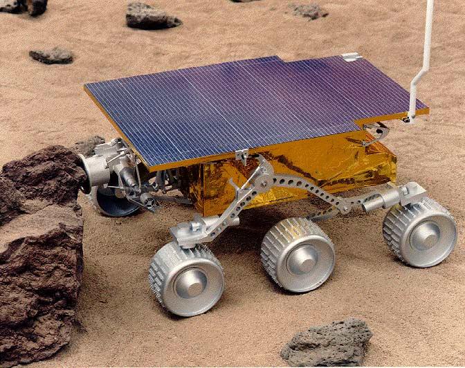O robô Sojourner, parte da missão Mars Pathfinder