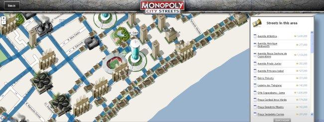 Mapas reais em Monopoly City Streets