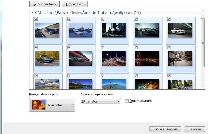 Selecione quais imagens serão usadas na transição de Papéis de Parede.