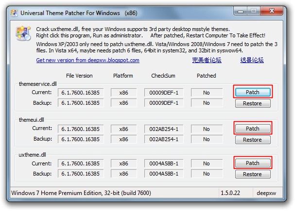 Interface do Universal Theme Patcher.