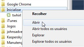 Na pasta Inicializar você coloca os links dos programas para abrir junto com o Windows.