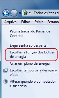 Escolha a função do botão de energia