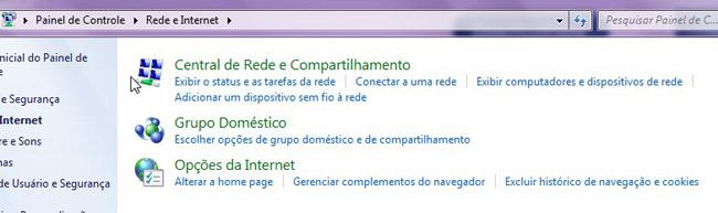 Central de Rede e Compartilhamento.