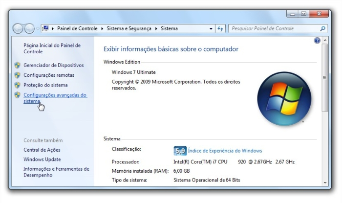 Configurações avançadas do Windows 7