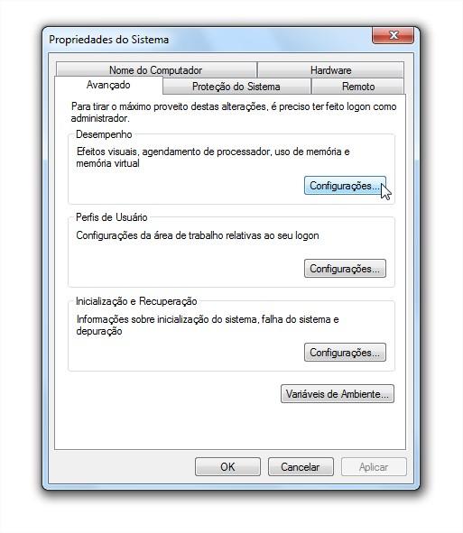 Configuração de desempenho do Windows 7