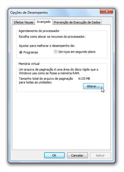 Alterando a memória virtual do Windows 7