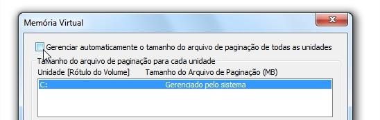 gerenciando manualmente o arquivo de paginação do Windows 7
