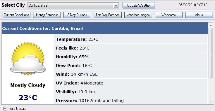 Visualização da meteorologia no Weather Pulse