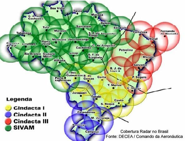 Controle de cada um dos Cindactas no Brasil