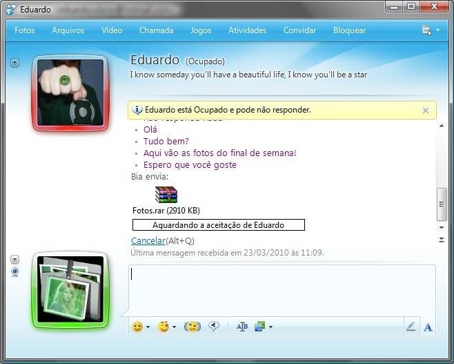 Envie as fotos pelo MSN Messenger