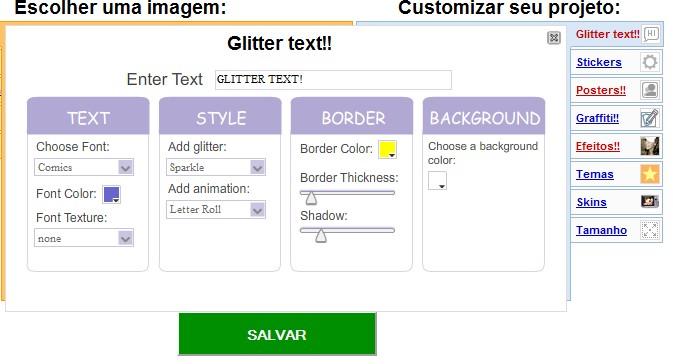 Opções de edição para  os textos