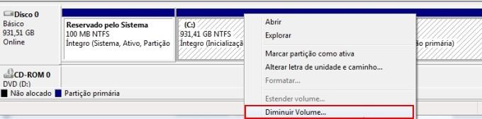 Criando uma partição no Windows 7 12997