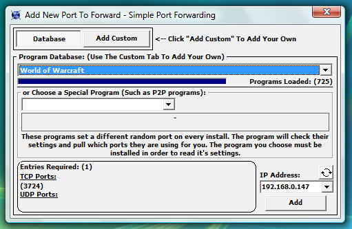 Tela de adição de programas.