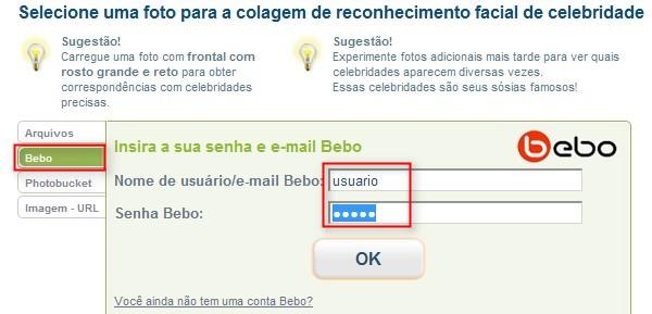 O login no Bebo ou Photobucket é simples.
