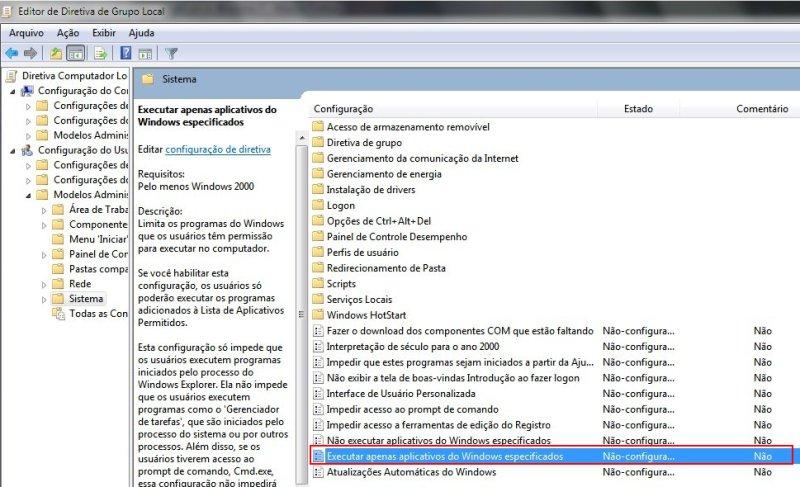 Clique na opção em vermelho para abrir menu e configurar programas