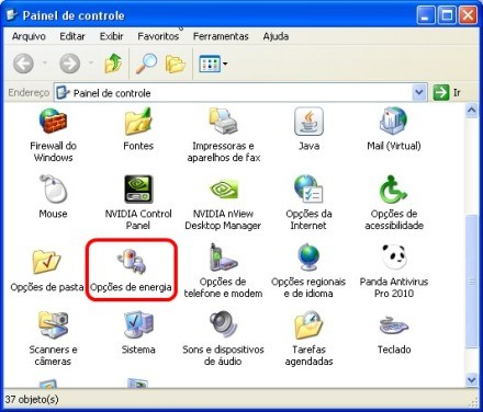 Desabilitando hibernar no XP