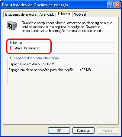 Desativando hibernação no Windows XP