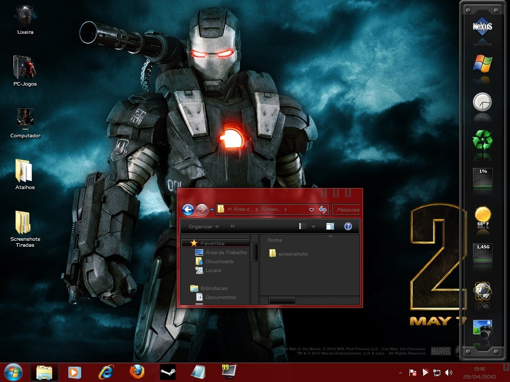 Windows 7 com o visual de Tony Stark