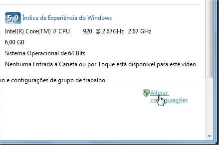 Clique para abrir a janela de configuração.