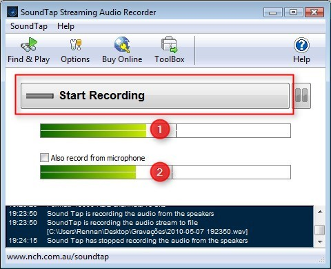 Capturando o áudio