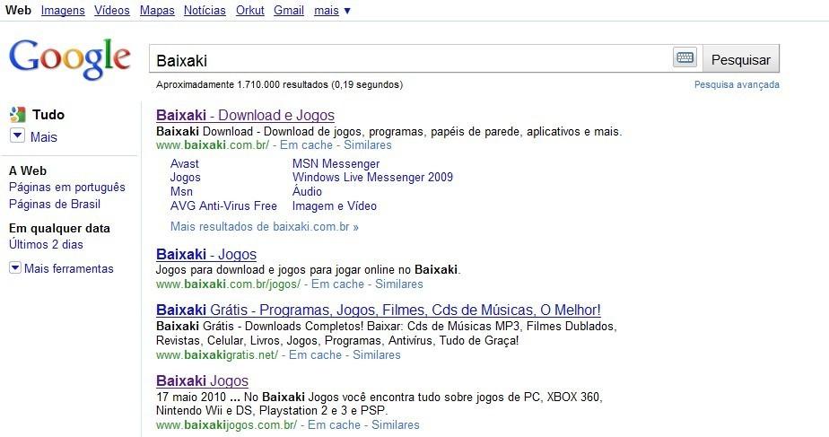 A página atual do Google, com a barra lateral