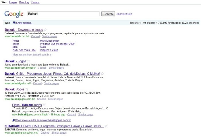 Google sem a barra lateral