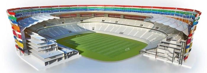 Destaque para a parte móvel no projeto do estádio.