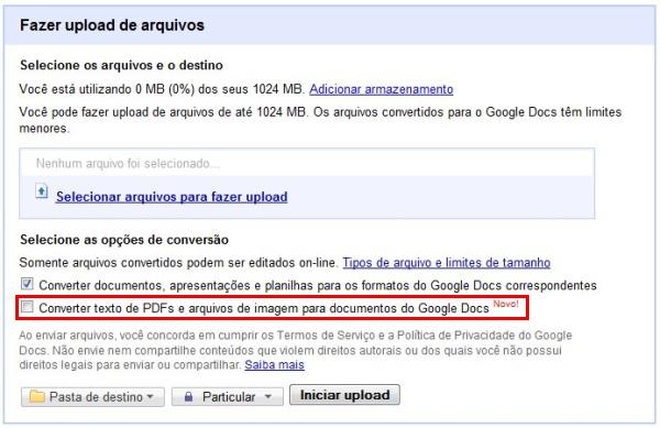 Google Docs agora permite converter imagens e PDF para texto