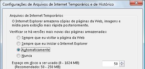Configurações de arquivos temporários do Internet Explorer, como exemplo.
