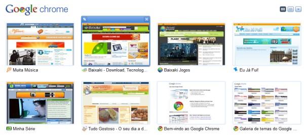 Miniatura dos sites favoritos.