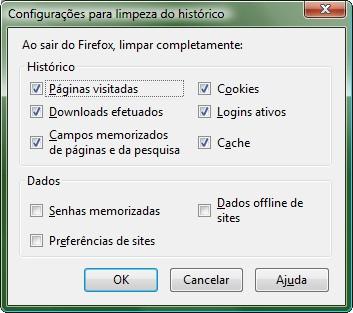 Configure a limpeza automática dos rastros do Firefox