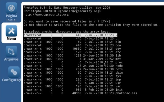 Selecione o destino dos arquivos recuperados
