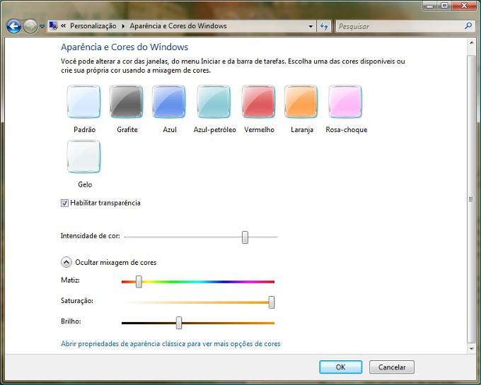 Mude as cores das janelas do Vista