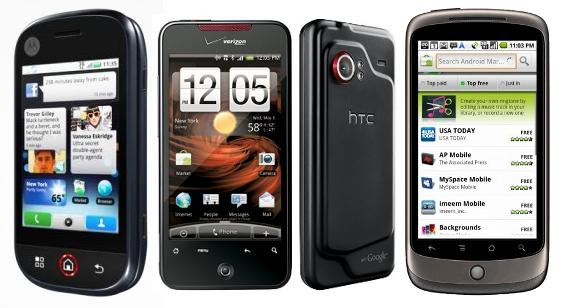 Motorola Dext, HTC Droid Incredible e Nexus One.
