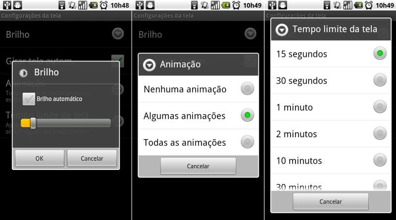 Edite as configurações da tela.