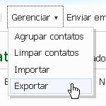 Clique em Gerenciar > Exportar, para salvar a lista de contatos do MSN