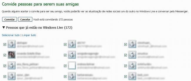 Selecione os contatos que deseja convidar novamente para o MSN