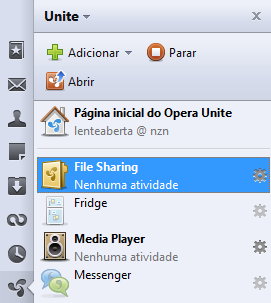 Opera Unite na barra lateral