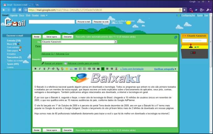 Email formatado, com a imagem no texto.