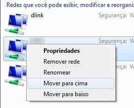 Mover uma rede para cima aumenta sua prioridade para o Windows 7