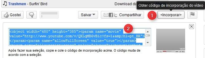 Obtenha o código de incorporação do vídeo.