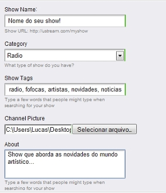 Criando o show no Ustream